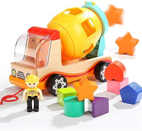 Milly & Ted - Camión Mezclador clasificador de Formas - Juguete de Madera con Forma de Coche para niños - Adecuado para niños Mayores de 18 Meses de Edad