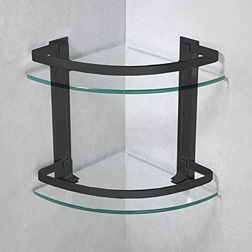 B5017 - Estante esquinero de cristal templado de dos estantes con barra de aluminio negro