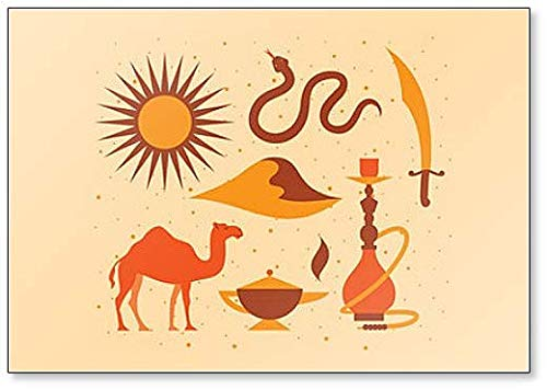 Ilustración Juego de Desierto: Sol, serpiente, cuchillo, paisaje, camel, magia, Hookah imán para nevera