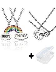 PPX 4 Piezas Collar para Mejores Amigos, Joyería de Moda para Mujer, Collar Arcoíris de Buena Amistad,con Caja de Joyas Transparente