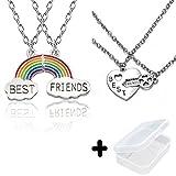 PPX 4 Nuvola Stitching Collana Migliori Amici, BFF Teenager per Sempre Il Regalo di Compleanno Amicizia Pz Arcobaleno,con Portagioie Trasparente