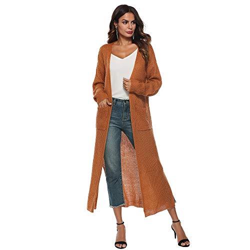 Starry Fantasy Donna Casual Open Front Manica Lunga Side Split Wide Knit Cardigan Maglione Lungo con Tasche Wheat L