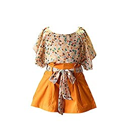 DDS Girls Poly Cute Floral Print Top and Short Set Yellow