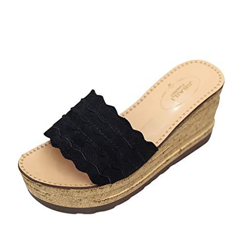 Été Pantoufles Femme Décontractée À Fond Plat Chaussures à Talons Hauts Chaussons de Plage compensées Mules et Sabots Sandales Tongs LianMengMVP
