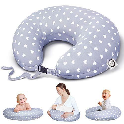 Bamibi® Cojín Lactancia Bebé Multifuncional con Broche Ajustable, Funda 100% Algodón Extraíble y Lavable, Relleno 100% Poliéster (Corazones)