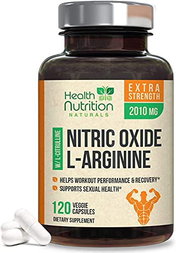 Extra Strength Nitric Oxide L-Arginine Supplement 2010mg - Citrulline Malate, Aakg, Beta Alanine - Premium Muscle Building Nitric Oxide Booster for Strength & Energy to Train Harder - 120 Capsules