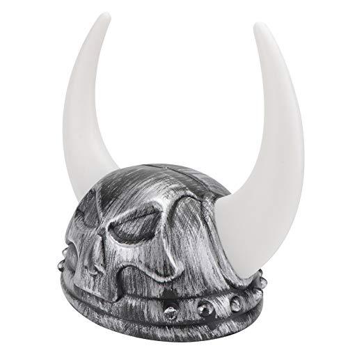 SOIMISS Casco de Cuernos de Vikingo Medieval Disfraz de Guerrero Cosplay Cuernos de Toro Tocados Casco de Cuerno de Buey Sombrero de Fiesta Accesorios de Fiesta