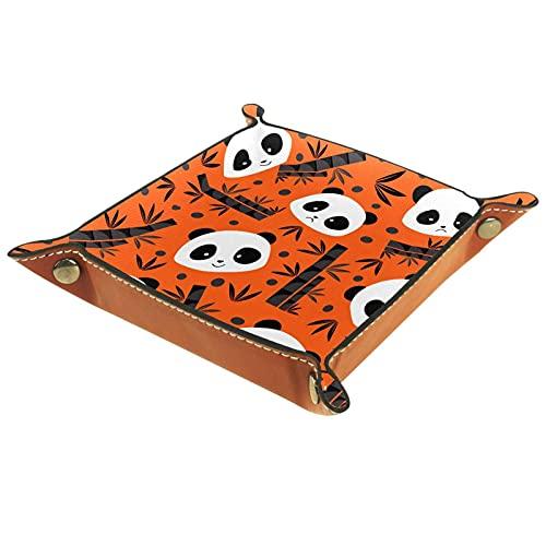 Bandejas de bambú naranja con diseño de panda y bandeja de cuero para llaves de moneda, joyería dados, bandeja de utilidad personalizada para decoración del hogar y la oficina