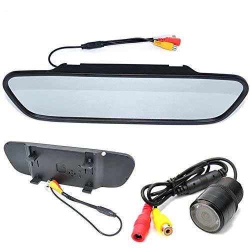 Boomboost - 5 Pouces Système d'aide au stationnement avec caméra arrière pour Moniteur de 28 mm de Lampe de Moniteur perforée de rétroviseur