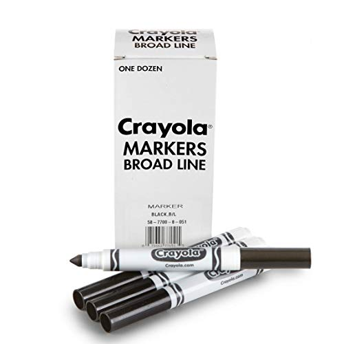 Crayola Black Markers, School Supplies, At Home Crafts for Kids, 12 Count