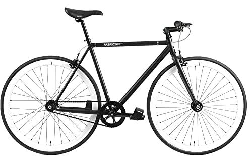 FabricBike-Fixie Bike, bicicletta a cambio fisso, velocità singola, telaio nero in acciaio Hi-Ten, 10Kg (Talla M) (Black & White, S-49cm)