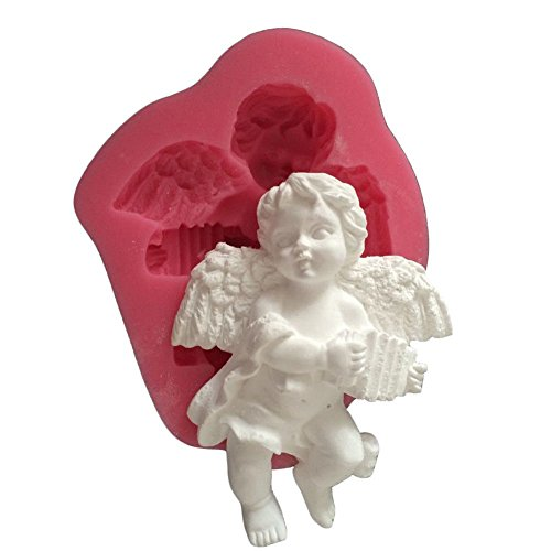 MoldFun Small Size Baby Angel with Wings Statue Silicone Mold for Fondant, Cake/Cupcake Decorating, Chocolate, Candy, Soap, Lotion Bar, Plaster of Paris, Polymer Clay, Cement, Concrete
