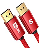 DisplayPort Cable, Silkland DP Cable 6.6 ft [4K@60Hz, 2K@165Hz, 2K@144Hz], Braided Display Port Cable 1.2 High Speed DisplayPort to DisplayPort Cable Compatible 3D, Laptop, PC, Gaming Monitor - Red