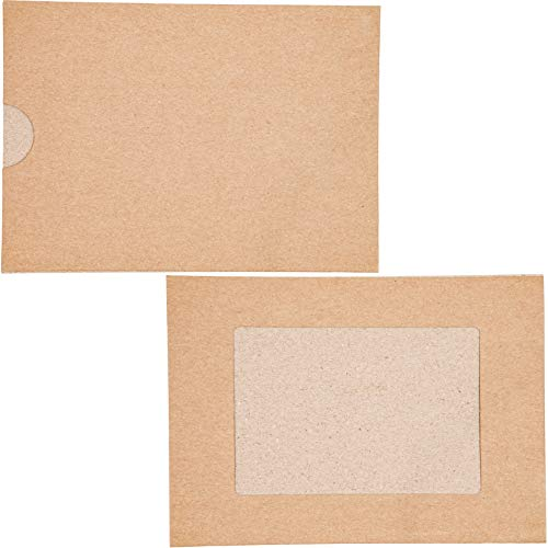 Kraft Paper Photo Insert Note Cards with Envelopes, Holds 4x6-Inch Photo (50-Pack)