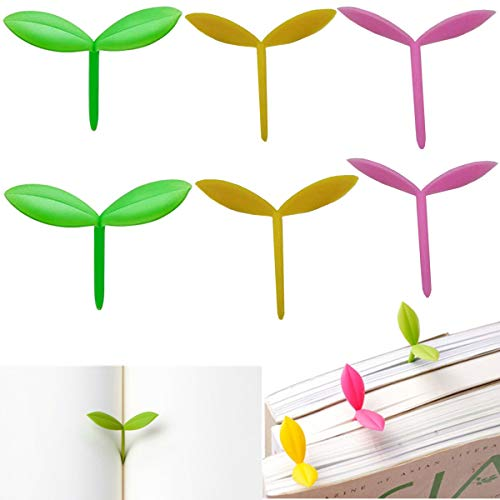 Sprout Little Green Bookmarks Pink Yellow Silicone Grass Buds Bookmark Creative Gifts Set of 6