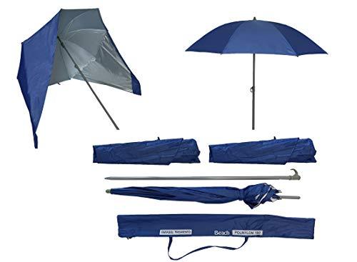 Sombrilla de Playa con Paneles Laterales Tipo Tienda/Paravientos, UPF+50 99% UV 180 CM (Azul Marino)