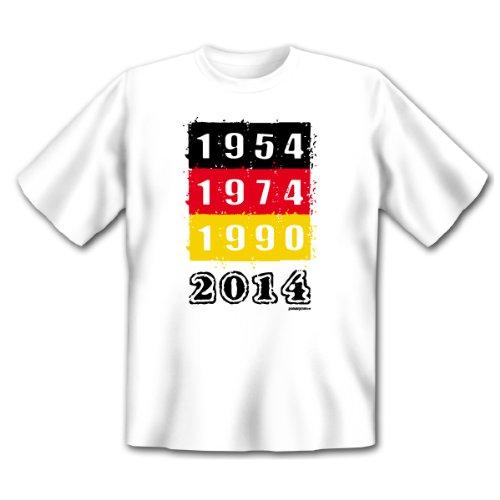 Fan T-Shirt zur Fußball - Weltmeisterschaft! Deutschland - 54, 74, 90, 2014! Fan Shirt, Trikot Gr. 5XL Fb: weiss