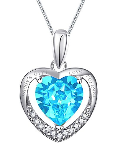 925 Sterling Silver Heart Necklace Pendant Engraved Daddy's Girl Love Forever Blue Crystal 18' Chain