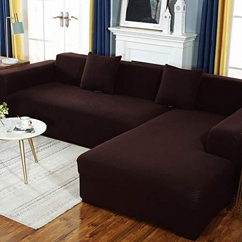 KTUCN Funda de sofá, Funda de sofá elástica con Todo Incluido, para Sala de Estar 1/2/3/4/5 Funda Antideslizante elástica, marrón, 2 Seat (145-185cm)
