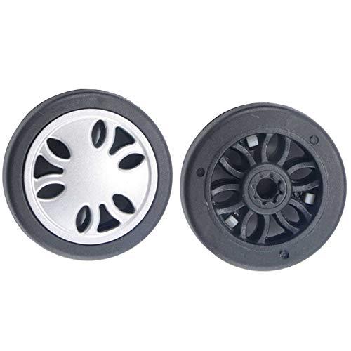 Ruedas de repuesto para maletas de equipaje, OD 60 (2.36 pulgadas), eje de 50 mm, juego de reparación para maletas y maletas de 360°, rueda doble universal (50 x 15 x 6,1 mm)