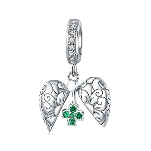 Regalo De Mujer Plata De Ley 925 Lucky Four-Leaf Heart Green Colgante Abalorios Aptos para Mujeres Pulseras Brazaletes Fabricación De Joyas DIY