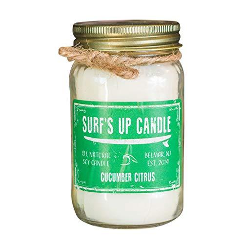 Surf's Up Mason Jar Candle (Cucumber Citrus, 16oz)