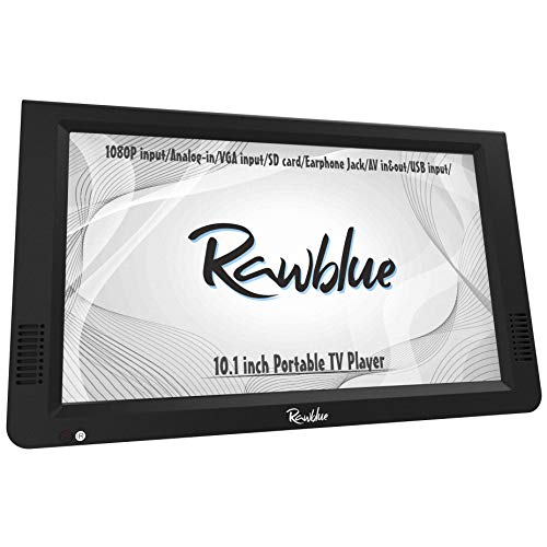 Rawblue 10 Inch Portable Digital ATSC TFT HD Screen Freeview LED TV for Car,Caravan,Camping,Outdoor or Kitchen.Built-in Battery Television/Monitor with Multimedia Player Support USB Card