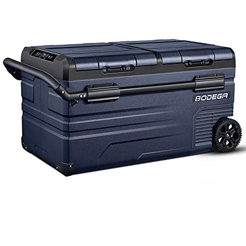 BODEGA APP Control Car Fridge 80 Quart(75L)Protable RV Refrigerator, Electric Cooler Dual Zone, -4℉-68℉ Small Freezer, Travel and Camping, Support 12/24V DC and 100-240V AC