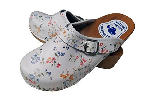 Aves-24 Clogs Pantolette Blumen Punkte Sandalette Holz + Leder Tolle Farben Holzschuhe (37, Blumen Bunt)
