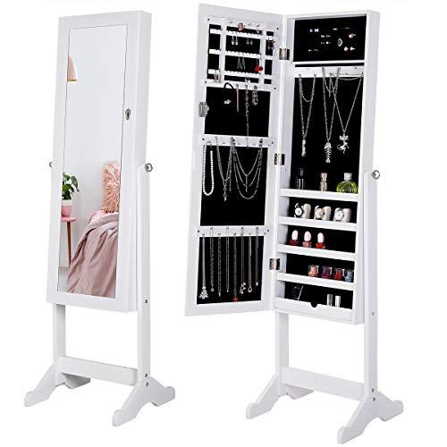 Deuba 2 en 1 Armario para joyas con espejo Blanco decoración con ranuras compartimientos con llave incluida gabinete