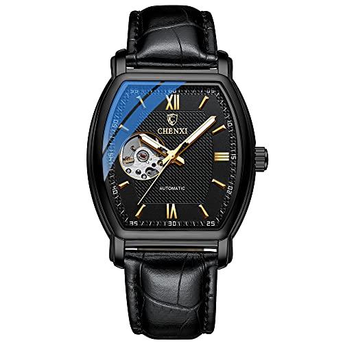 Reloj mecánico automático Tourbillon de cuero de lujo reloj de vestir impermeable luminoso reloj de pulsera
