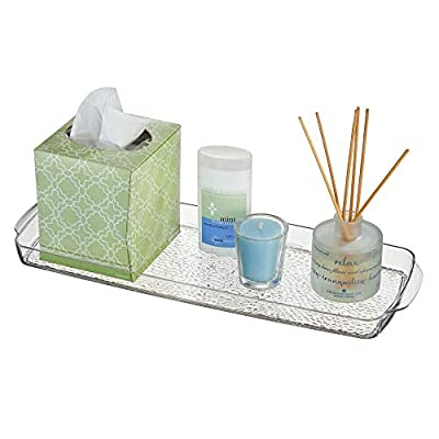 mDesign Long Plastic Bathroom Vanity, Countertop, Toilet Tank Top Storage Tray - Holds Towels, Candles, Jewelry, Lotions, Tissues,Canisters Toiletries and More - Clear