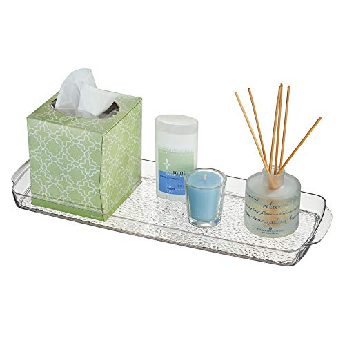 mDesign Long Plastic Bathroom Vanity, Countertop, Toilet Tank Top Storage Tray - Holds Towels,...