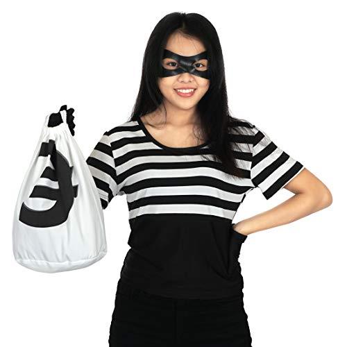 CoolChange Disfraz de ladrona de Bancos para Mujer con mscara, Guantes y Bolso para el Dinero, Talla: S