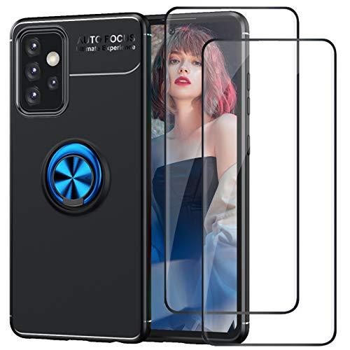 DIMIYER Funda compatible con Samsung Galaxy A52, con 2 protectores de pantalla de cristal blindado 360°, anillo giratorio para soporte magnético de coche, carcasa de silicona para Galaxy A52