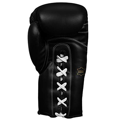 Title Classic Leather Lace Training Gloves 2.0, Black, 16 oz