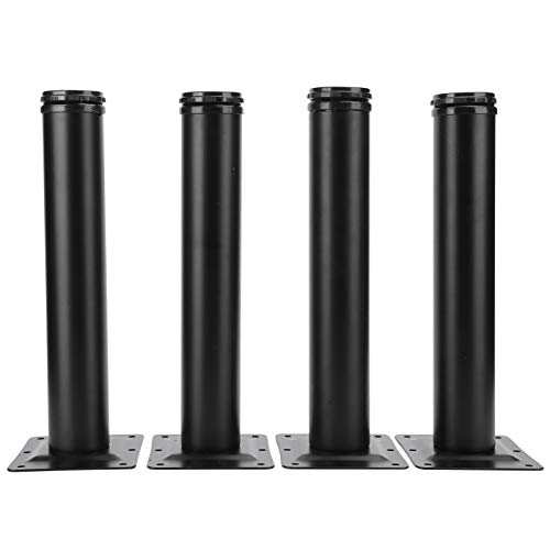 Ausla 4-piece desk leg, metal furniture foot, steel tube feet, round, height adjustable table legs, storage weight 300 kg, for tables, desks, kitchen tables, side tables (8 inch)