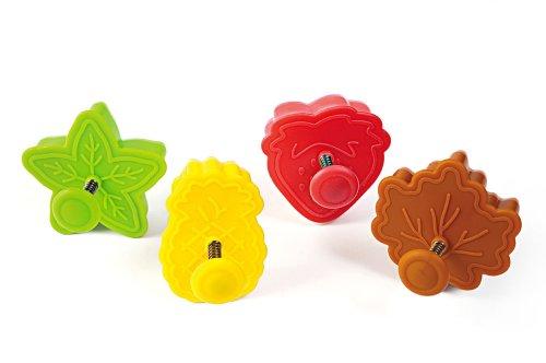 Silikomart Wonder Cakes by 70.111.99.0069 Lot de 4 Découpoirs en Plastique Thème Nature, Vert/Jaune/Rouge/Marron, 5,5 x 12 x 12 cm