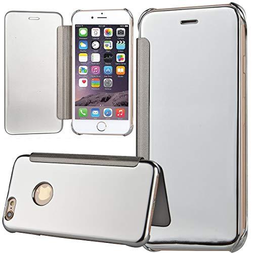 TVVT Espejo Funda para iPhone 6 / iPhone 6S, Mirror Cuero Carcasa Ventana de Espejo Transparente Visión Clara Case Flip Plegable Libro Carcasa Modelo Soporte Magnético Cierre - Plata