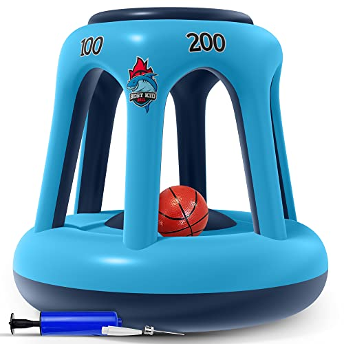 BESTKID BALL Pool Basketball Hoop – Swimming Pool Basketball Hoop Set – Durable PVC Material – Includes Ball, Pump and 2 Needles – Non-Leaky Valves and Easy Installation
