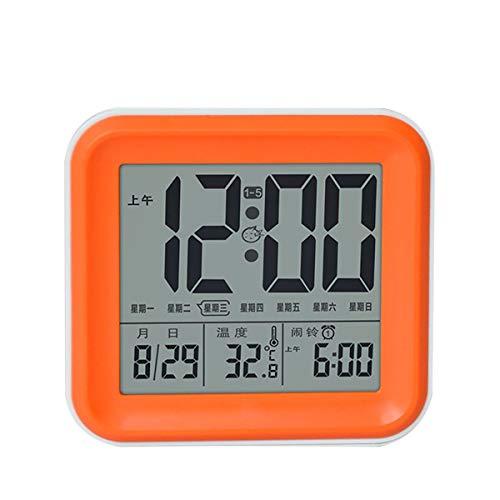 Greatangle-UK Reloj Despertador para Estudiante, Mes, Fecha, día, Pantalla, Sensor de luz LCD, Reloj de Escritorio, Reloj de Mesa para niños, Naranja