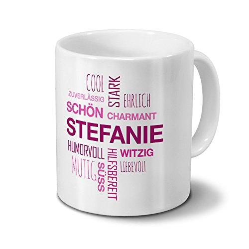 printplanet Tasse mit Namen Stefanie Positive Eigenschaften Tagcloud - Pink - Namenstasse, Kaffeebecher, Mug, Becher, Kaffeetasse