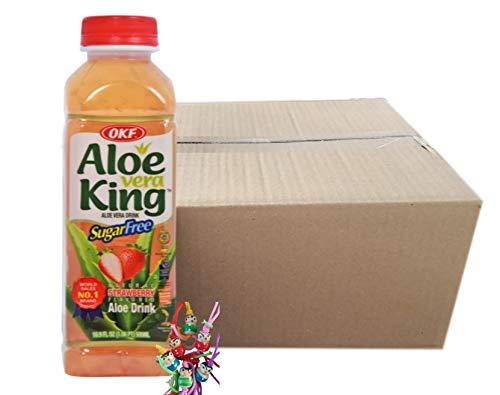 yoaxia ® - 20er Pack - [ 20x 500ml ] OKF SUGAR FREE Aloe Vera King Getränk ERDBEER Geschmack / Aloe Vera Drink + ein kleines Glückspüppchen - Holzpüppchen