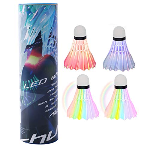Hongfago Bunte Badminton Bälle, 4 Stück LED Federbälle Indoor Outdoor Badminton Sport Training Badmintonbälle Naturfederbälle Federball