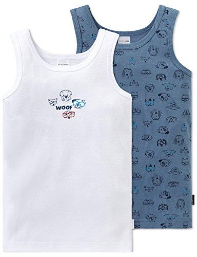 Schiesser Jungen Multipack 2pack Hemd 0/0 Unterhemd, Mehrfarbig (Sortiert 19), 140 (2er Pack)