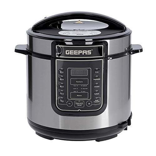 Geepas 1000W 7-in-1 Electric Pressure Cooker, Steamer 6L Digital Multicooker – Stainless Steel/Black – 14 Cooking Modes, Automatic Keep Warm & 24 Hours Preset Function – 2 Years Warranty