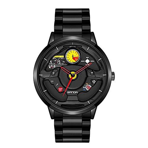 HEEYEE Reloj de Rueda de Coche de los Hombres, Moda Impermeable al Revestimiento de dirección de la Rueda de la Rueda de los Hombres Rim HUB Reloj Run Hombres Reloj de Pulsera de Cuarzo,Negro
