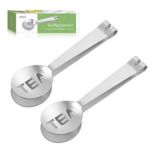 AIEVE Tea Bag Squeezer, 2 Pack Stainless Steel Tea Bag Holder Tea Bag Tongs Tea Bag Spoon Tea Bag Strainer Clip for Gripping Ice Cubes Tea Bags for Loose Tea Loose Leaf Gripping Ice Cubes, Silver