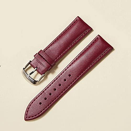 YWSZJ Correa de Reloj de Cuero 14 mm 16 mm 18 mm 20 mm 22 mm Correa de Reloj para Mujeres Hombres Accesorios de Reloj Hebilla sólida Marrón Azul Rojo (Color : Purple, Size : 18mm)