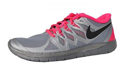 NIKE Free 5.0 Flash Junior Running Shoe, Silver/Pink, US4.5